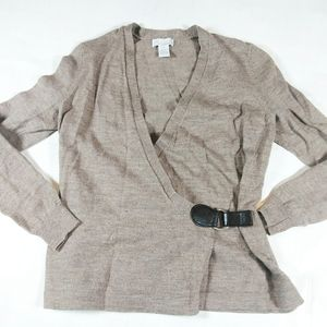 Tweeds 100% Merino Wool Wrap Knit Sweater SZ S